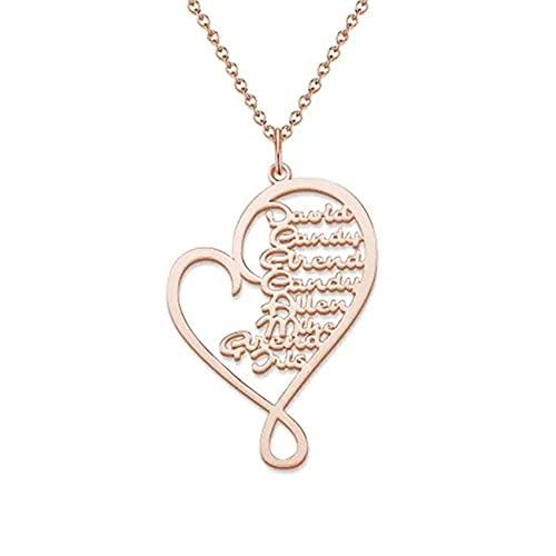 Collar Del Día De La Madre Collar Personalizado Con Colgante De Corazón Collar Grabado Personalizado 1-8 Collar Para Mujer(Oro rosa 24)