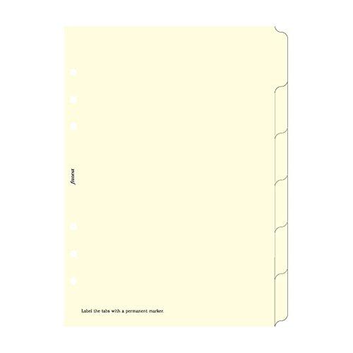 Filofax - Separadores para archivador (tamaño A5, en blanco, 6 divisiones), color crema