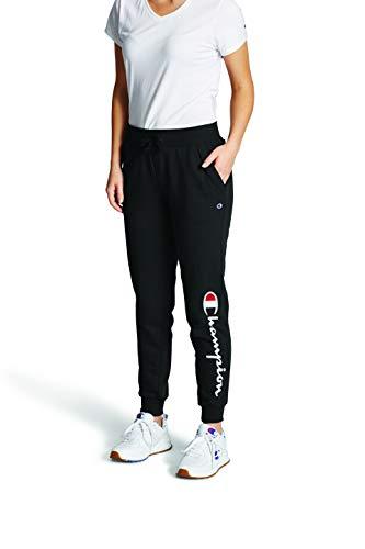 Champion womens Powerblend Jogger Sweatpants, Black - 'C' Applique, Medium US
