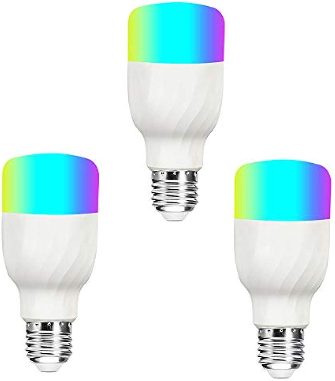 MXXTL WiFi Smart GlüHbirne, RGB-Farb Dimmbar, Geeignet FüR Intelligente GerTe, Amazon Alexa, 60W Quivalent RGB-Birne, (E27-3-Paket)