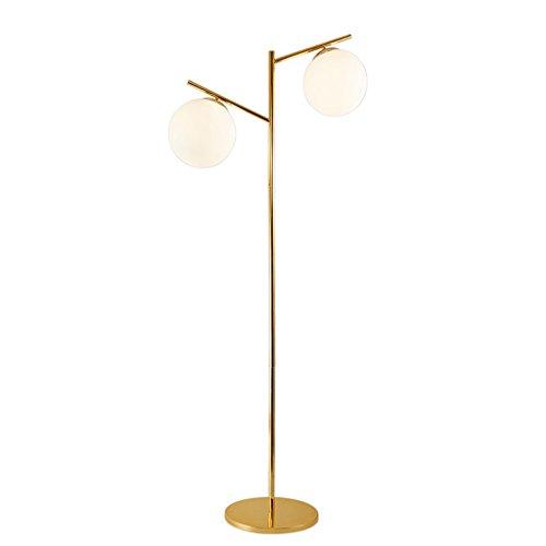ZIXUANJIAXL Stehende Stehlampen Moderne minimalistische Stehlampe Sofa Schreibtischlampe, runde Glaskugel E27 Lampe Gold-Lampen-Körper-Stehleuchte