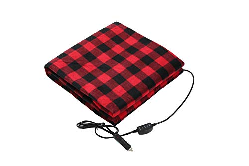 DIDIBABA 12V Car Heated Electric Travel Blanket 57'x39' Electric Fleece Throw White/Black (red and Black)