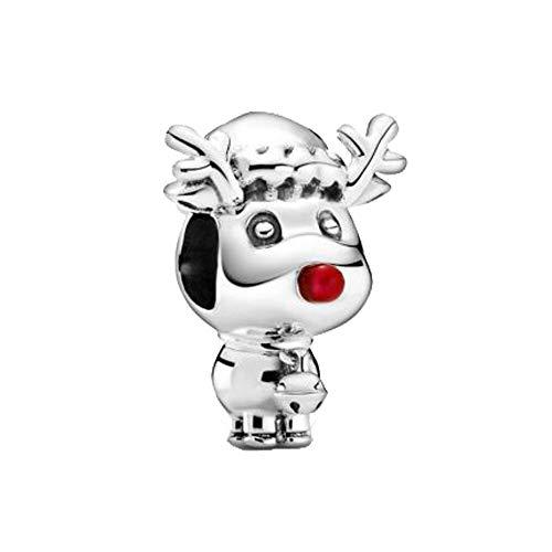 LIZHENG Ajuste Original Pandora Pulsera Encanto 925 Cuentas De Invierno De Plata De Ley Rudolph El Reno De Nariz Roja Joyería De Navidad