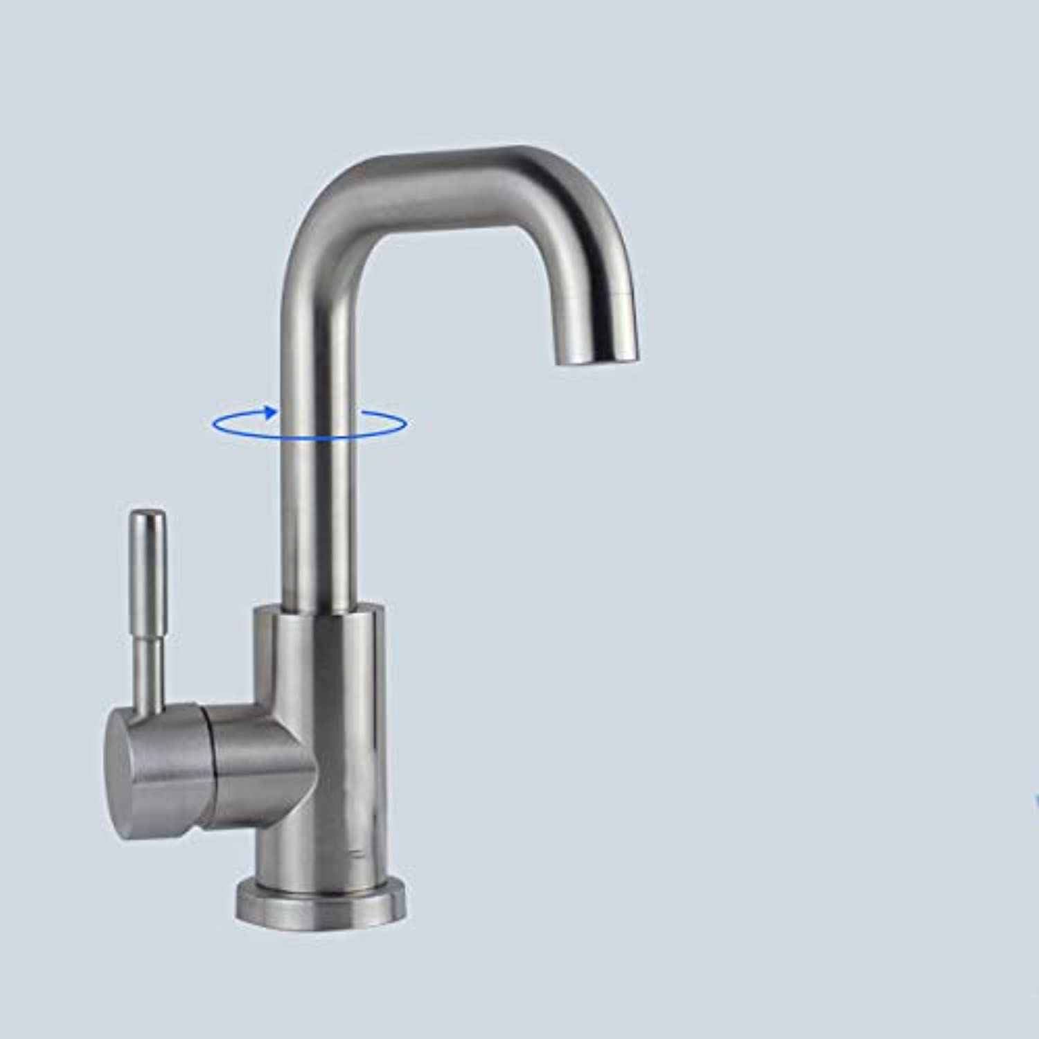LHbox Basin Mixer Tap Bathroom Sink Faucet Stainless steel basin mixer bathroom hot and cold single hole to redate the,B,)