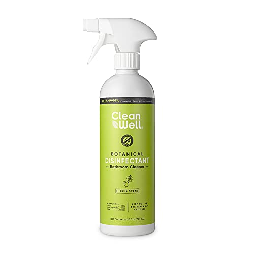 CleanWell Botanical Disinfectant Bathroom Cleaner, Citrus, 24 fl oz (1 PK)-Kills 99.9% of Household Germs, Plant-Derived, No-Rinse Multi-Surface Antibacterial Cleaner, Family Friendly, Cruelty Free