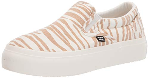 Billabong womens Makena Platform Slide Sneaker, Zebra, 9.5 US