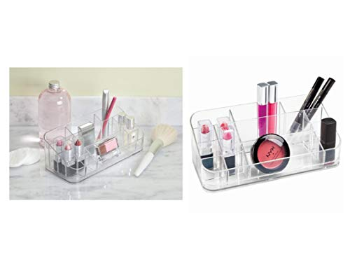 Price comparison product image iDesign Makeup Organiser with 14 Compartments,  Medium Size Makeup Storage for Bathroom and Dressing Table,  Plastic Bathroom Storage for Lipsticks,  Eyeshadow,  and More,  Clear