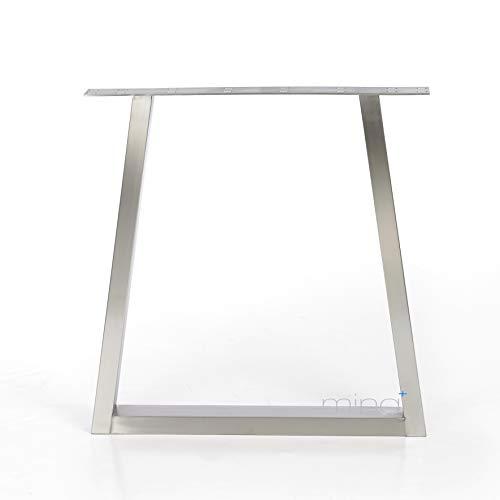Tischgestell Trapez-Form modern I 70 x 30 mm Profil I hochwertiger Edelstahl gebürstet I 72 cm hoch I Indoor & Outdoor I Untergestell für Ess-, Schreib-, Gartentisch etc. I 1 Stück