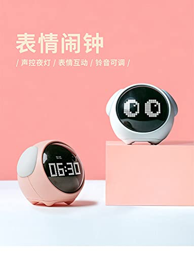 shihang 1500Mah Despertador Digital Infantil, Relojes Despertador con Luz De Noche para Niños Y Niñas, Silenciosa Cabecera Lindo Despertador Infantil,Blanco