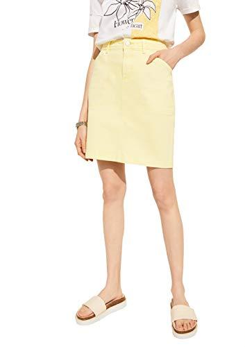 comma Casual Identity Damen Coloured Denim-Rock mit Wascheffekt Light Yellow 38