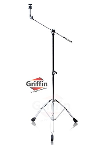 Cymbal Boom Stand by Griffin|Double Braced Drum Percussion Gear Hardware Set|Adjustable Height|Arm Holder With Counterweight Adapter for Mounting Heavy Duty Weight Crash and Ride Cymbals For Drummers
