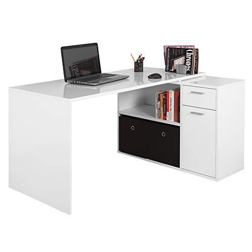 RICOO WM083-W Escritorio esquinero Blanco Mesa Ordenador Esquina Organizador Oficina Muebles de hogar Secreter Buro rinconera PC Gaming Madera