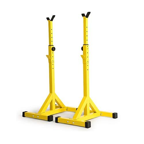 Soportes Sentadilla, Barra Pesas Estante Rack Musculación Squat Rack Jaula Musculacion Bastidor Levantamiento Pesas, Carga 200 Kg, Altura Regulable, para Entrenamiento Yellow