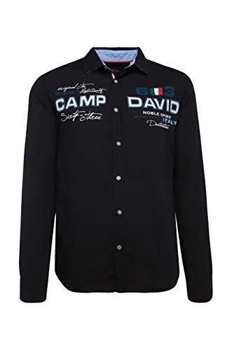 Camp David Herren Sweatjacke mit Farbstreifen und Artwork, Black, XL