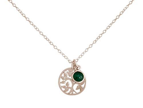 Gemshine YOGA Halskette mit Lebensbaum und Smaragd. 925 Silber, hochwertig vergoldet oder rose Anhänger. Nachhaltiger, qualitätsvoller Schmuck Made in Spain, Metall Farbe:Silber