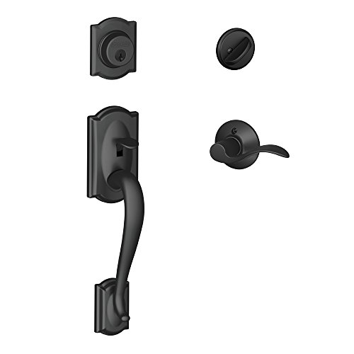 Camelot Single Cylinder Handleset and Left Hand Accent Lever, Matte Black (F60 CAM 622 Acc LH)