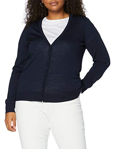 Amazon-Marke: MERAKI Merino Strickjacke Damen mit V-Ausschnitt, Blau (Navy), 36, Label: S