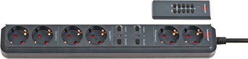 Brennenstuhl Eco-Line Funk-Steckdosenleiste 6-fach mit Fernbedienung (Steckerleiste mit 2 Permanent-Steckdosen und 2x2 getrennt schaltbaren Steckdosen, Mehrfachsteckdose mit 1,5m Kabel) anthrazit