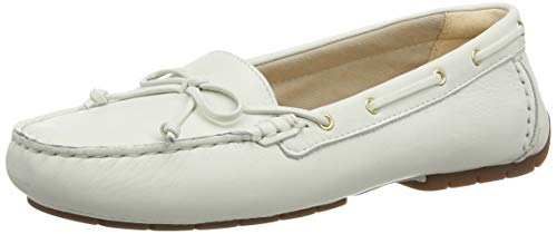 Clarks Damen Mokassin, Weiß (White Leather White Leather), 40 EU