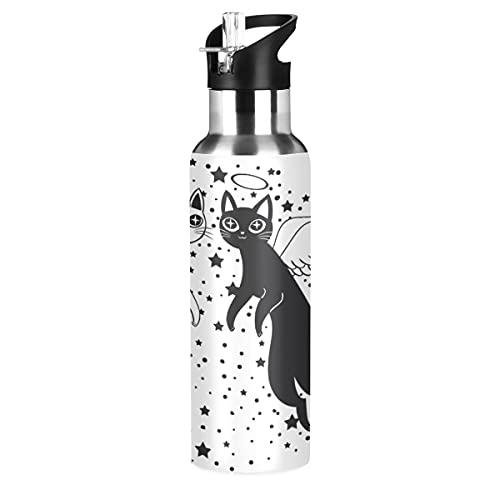 ADKing - Botella de agua con diseño de ángel del diablo de animales, 20 onzas para deportes a prueba de fugas, botella de agua sin BPA, acero inoxidable