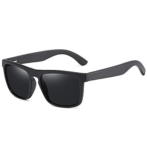 NIUBKLAS Gafas de sol cuadradas Vintage con montura negra Bamboo Hombres Mujeres Gafas de sol de madera Retro Oculos polarizados Negro