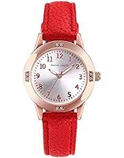 ガールズ腕時計 学生腕時計 シンプル 女の子腕時計日本製ムーブメント 薄型ファッション カジュアル アナログクオーツ 防水 レディース腕時計 スリム 合金製ダイアル ドレスウォッチ 本革バンド 女性腕時計