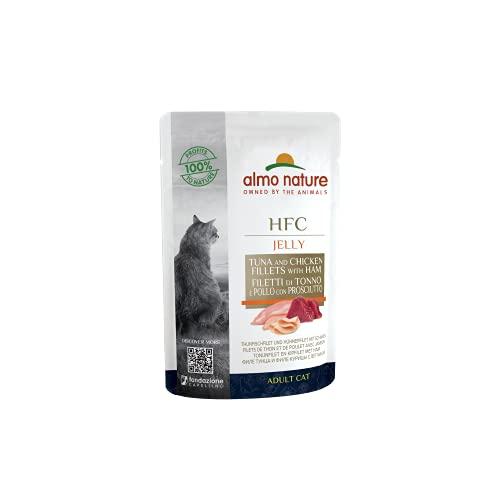 Almo Nature Cat Food Classic - Bolsa de gelatina con gallina y jamón