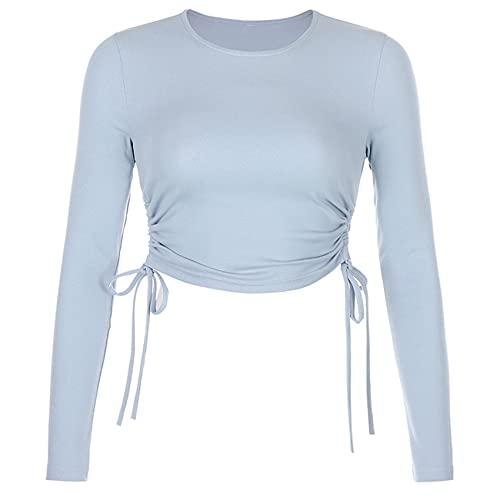 FrüHling Und Sommer Frauen LäSsig Rundhals Seite Plissee Kordelzug Eng Anliegende Einfarbige Kurze Crop Top Hoodie Pullover T-Shirt Frauen