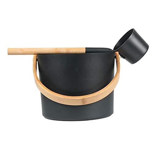Seau En Aluminium De Sauna Finlandais Luxueux De 7L Avec Ensemble De Cuillères À Long Manche Correspondant Au Baril De Sauna De Louche