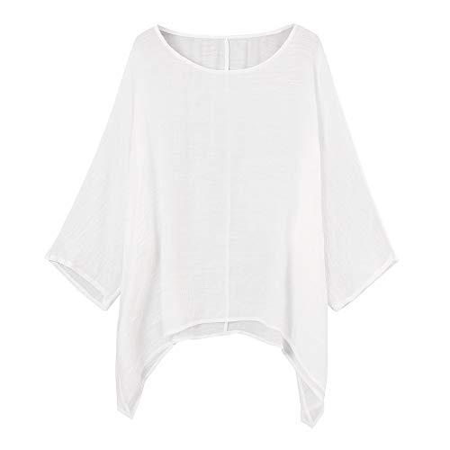 Xmiral Damen Bluse Einfarbig Lose Bettwäsche aus Baumwolle 3/4 Ärmel Tops Shirt Beiläufig Übergröße Langarmshirt Atmungsaktiv Oberteile(Weiß,S)