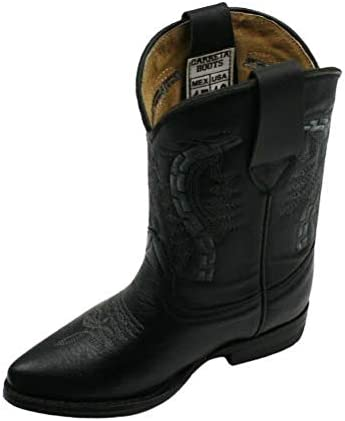 Kids Genuine Leather Western Cowboy Rodeo J Toe Pull Up Closure Boots