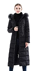 Obosoyo Women's Hooded Thickened Long Down Jacket Maxi Down, Black, Size Large from Obosoyo