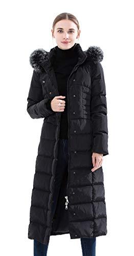 Obosoyo Women's Hooded Thickened Long Down Jacket Maxi Down Parka Puffer Coat Black L