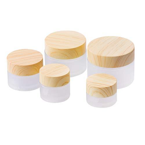 Lurrose Reisecremetiegel Umwelt Bambus Deckel Mattglasflasche Cremetiegel Maske Reiseflasche Leer Kosmetikbehälter Topf mit Innenfolie 5 Stück