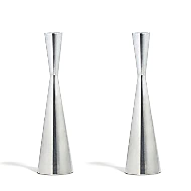 2 Silver Finished Taper Candle Holders, 9 Inches, Metal, Hourglass Shape, Fits ALL Standard Candlesticks