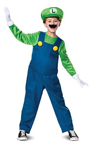 Super Mario Bros DISK10773L Kostüm, Jungen, Luigi, S