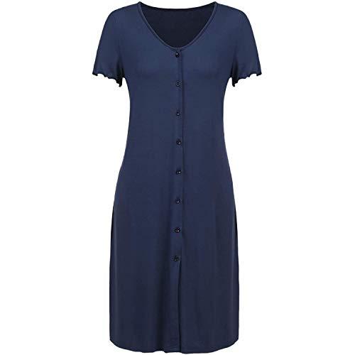 Katigan Camisón para Mujeres Vestido de Maternidad Manga Corta de Lactancia para Bebé Camisón de Lactancia Materna Vestido de Embarazo Azul Xl