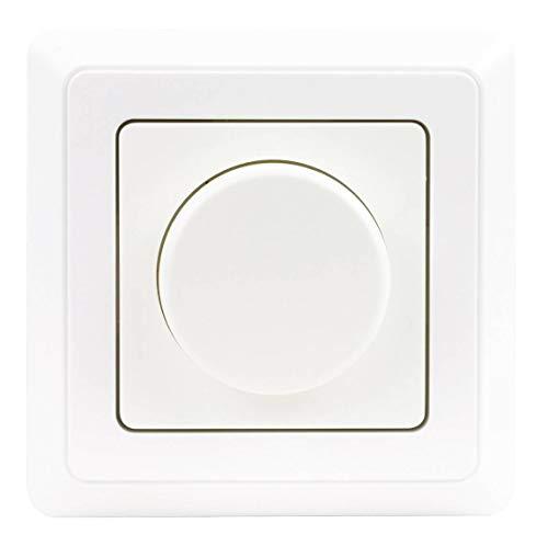 REV Ritter LED (5-100 Watt) Dimmer PrimaLuxe, weiß, Phasenabschnitt-Dreh-Helligkeitsregler (Glühlampe 25-300 Watt) inkl. Rahmen und Dimmerscheibe, Unterputz Dimmer LED Drehdimmer