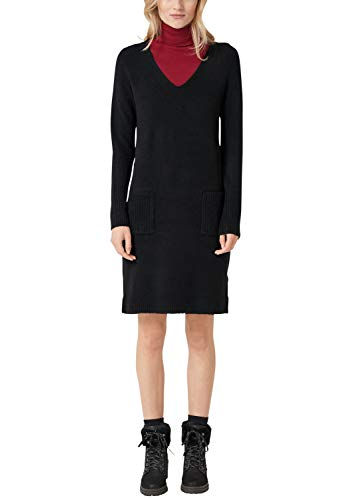s.Oliver RED Label Damen Cozy-Strickkleid aus Wollmix Black 46
