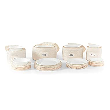 CoverMates – 4 Piece Dish Storage Set 4 PIECE SET – Diamond Collection – 2 YR Warranty – Year Around Protection - Cream