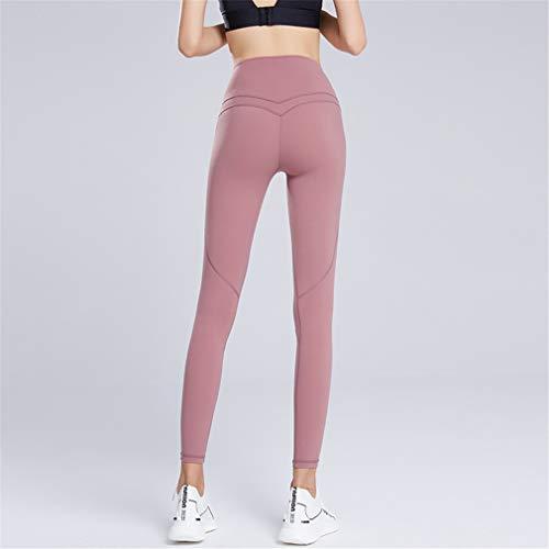 Leggings de yoga para entrenamiento de gimnasio, pantalones de compresión sin costuras, elásticos, para gimnasio, yoga, correr, rosa, talla S