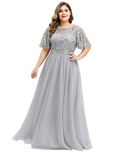 Ever-Pretty Damen Elegant Empire A-Linie Bodenlang Kurze Ärmel Tüll große Größe Abendkleider Grau 58