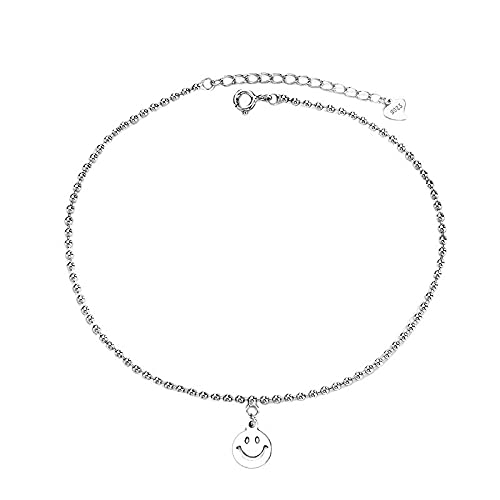 S925 Sterling Silver Hollow Smiley Face Round Bead Anklet Female Cute Fun Ins Wind Smile Expression Foot Jewelry