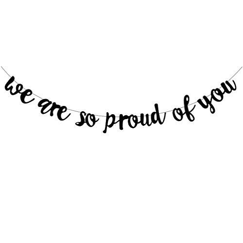 Amosfun Wir Sind So Stolz auf Sie Banner Glitter Abschluss Banner Herzlichen Glückwunsch Grad Party Girlande für Abschlussfeier Lieferungen