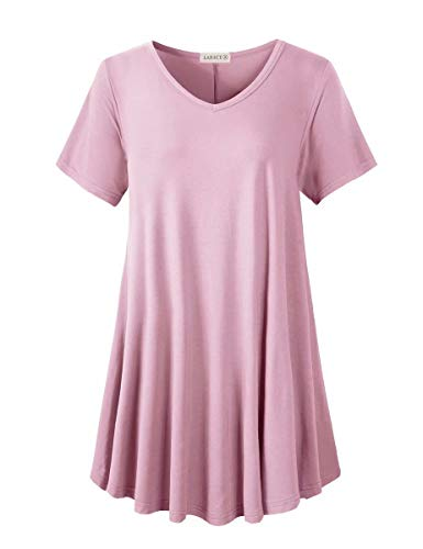 LARACE Tunics Short Sleeve Plus Size Casual Tops for Women V Neck Loose Fit Flowy Clothing for Leggings(Pink 3X)
