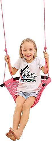 wsbdking Asiento Swing para NIÑOS Juego de giros Seguros para niños, Interiores, al Aire Libre, área de Juegos, hogar, árbol, 440 lbs de Capacidad (Color : Pink)