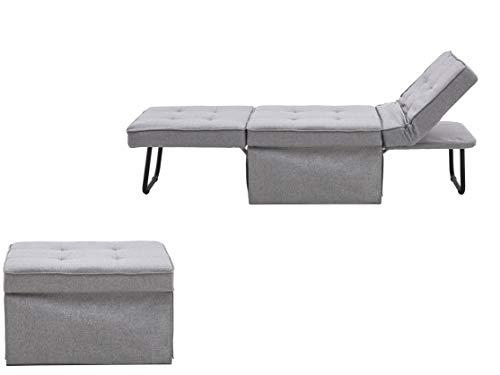Atlantic Home Collection Sessel, Liege, Hocker Finn, Polyester, Grau, BxTxH: 80cm x 72cm x 43cm