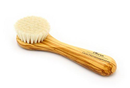 Gesichtsmassagebürste, Olivenholz, 158 mm, reine Ziegenhaare