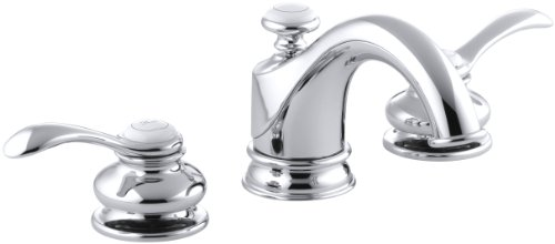 KOHLER Fairfax K-12265-4-CP 2-Handle Widespread Bathroom Faucet with Metal Drain Assembly in Polished Chrome