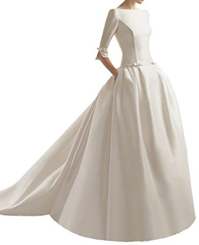 Promgirl House Damen 2015 Modisch Prinzessin Satin Brautkleider Hochzeitskleider Lang mit Aermel-38 Elfenbein